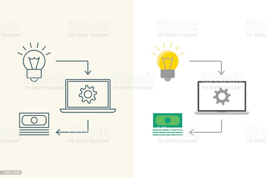 Convert Idea Into Money Linear And Flat Illustration Stock