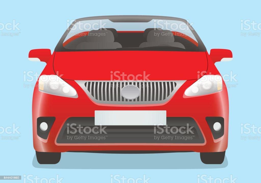 convertible car front view vector art illustration