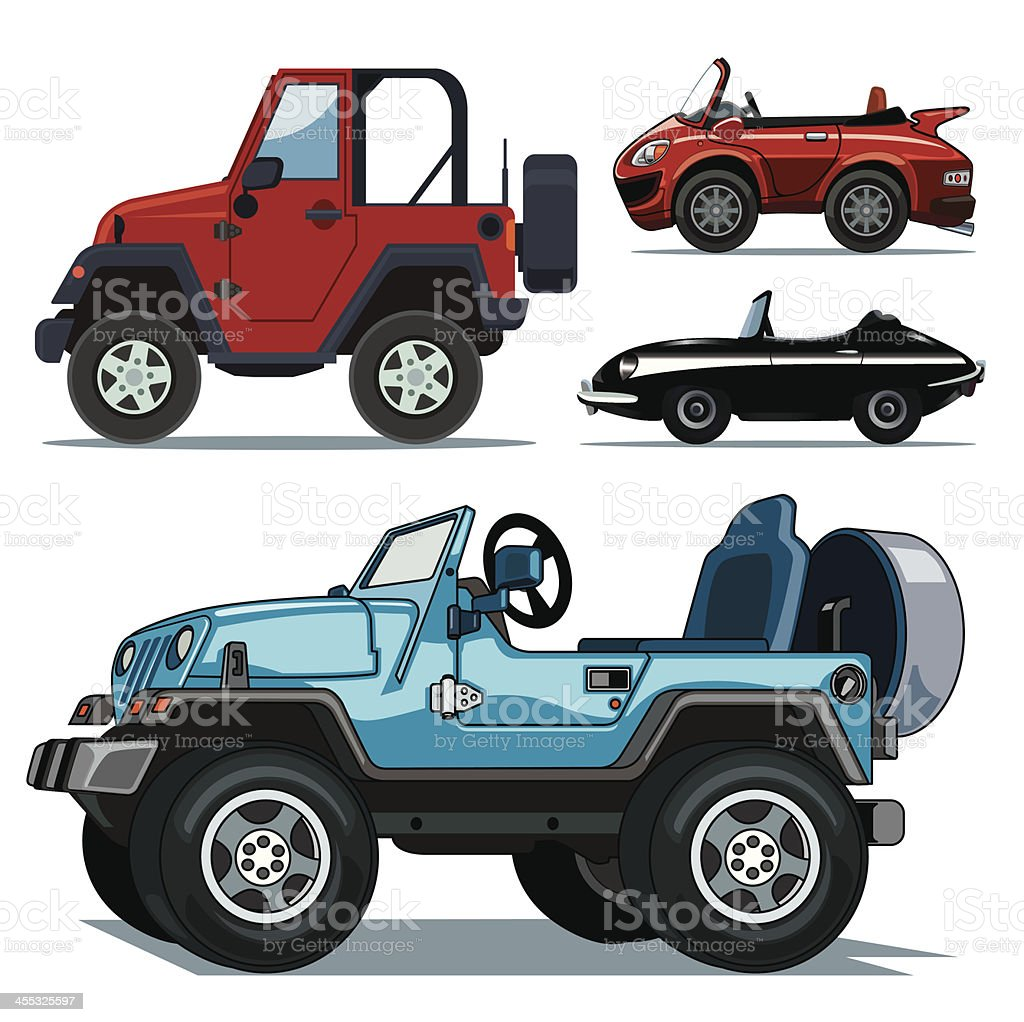 convertible cars collection vector art illustration