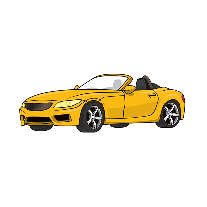 Convertible super sports car vehicle transportation. Bright color  for coloring page, children book.