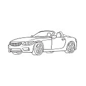 Convertible super sports car vehicle transportation. Only black and white for coloring page, children book.