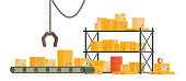 conveyor belt in front of warehouse shelves full of cardboard boxes.