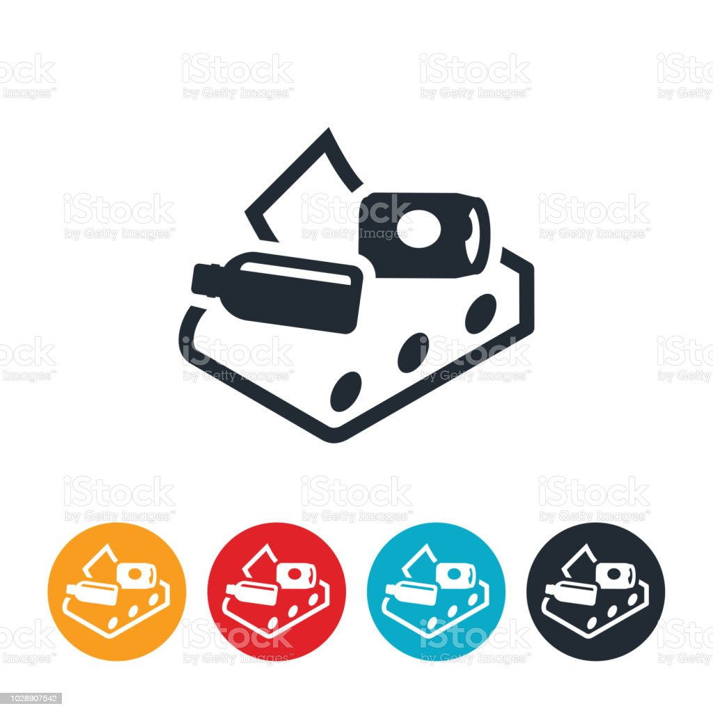 Conveyor Belt At Recycling Facility Icon vector art illustration