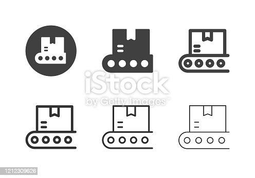 Conveyor Belt Box Icons Multi Series Vector EPS File.