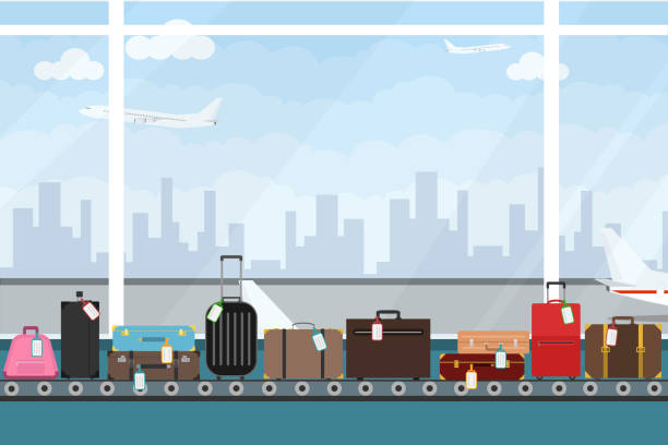 Conveyor belt in airport hall. Baggage claim. Airport conveyor belt with passenger luggage bags vector illustration. Airport baggage belt. Conveyor belt in airport hall. Baggage claim. Airport conveyor belt with passenger luggage bags vector illustration. Airport baggage belt. airport backgrounds stock illustrations