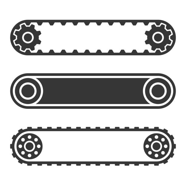 stockillustraties, clipart, cartoons en iconen met transportband riem lijn set op witte achtergrond. vector - lopende band