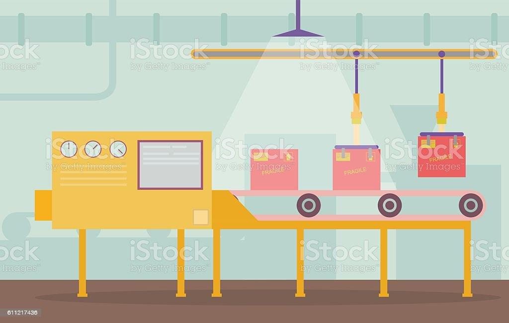 Conveyor belt vector art illustration