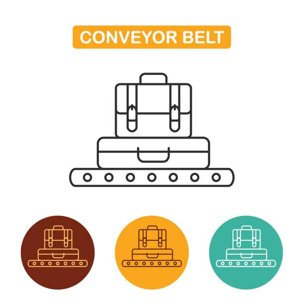 Conveyor belt with luggage icon. Conveyor belt with luggage icon. Suitcase and briefcase vector illustration. Travel icon for web and graphic design. Line style icon. bonus march stock illustrations