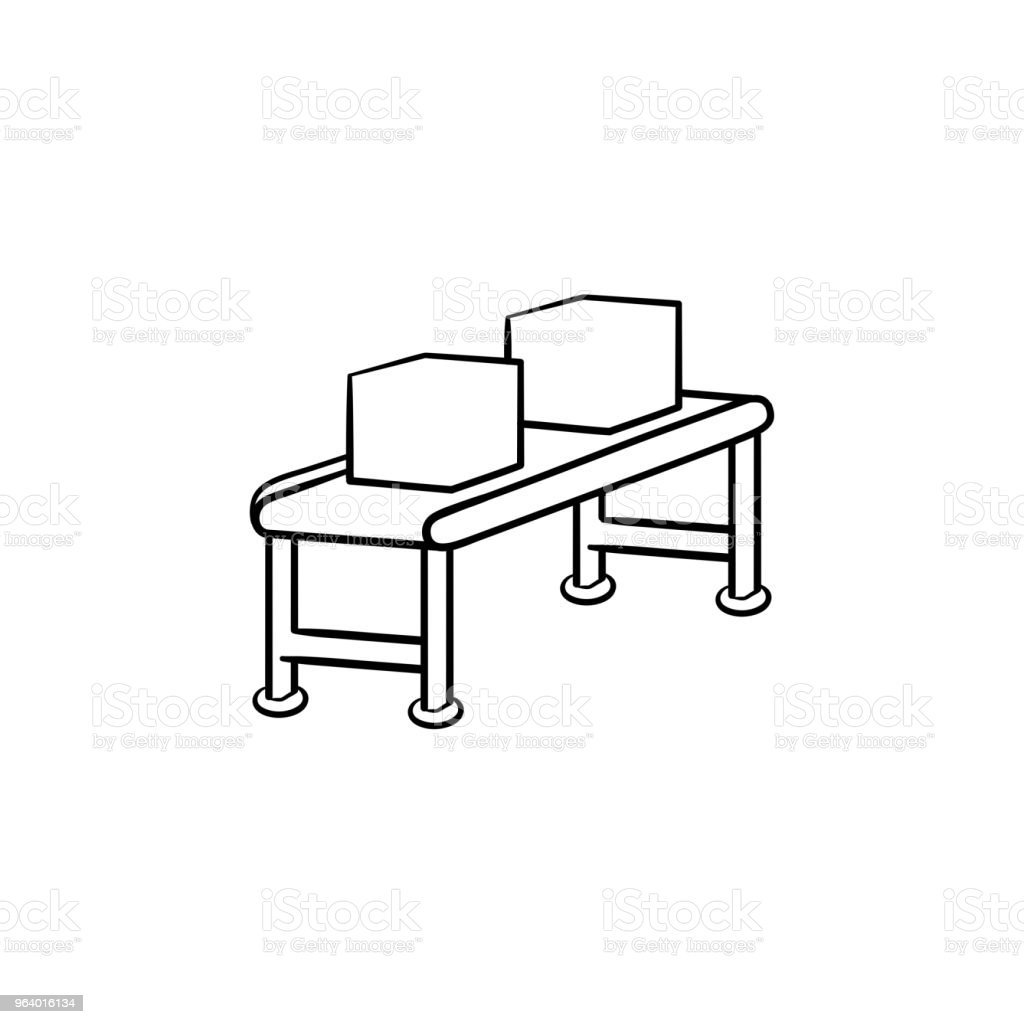 Conveyor belt with parcels hand drawn outline doodle icon - Royalty-free Automated stock vector