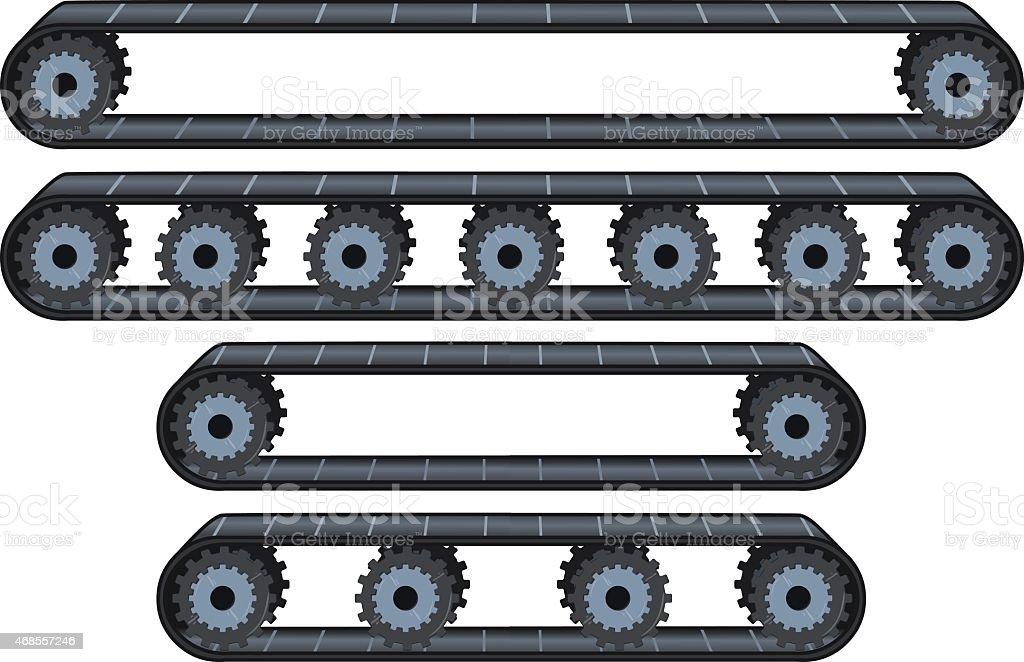 Conveyor Belt With Wheels Pack vector art illustration