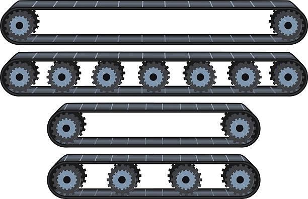 stockillustraties, clipart, cartoons en iconen met conveyor belt with wheels pack - lopende band