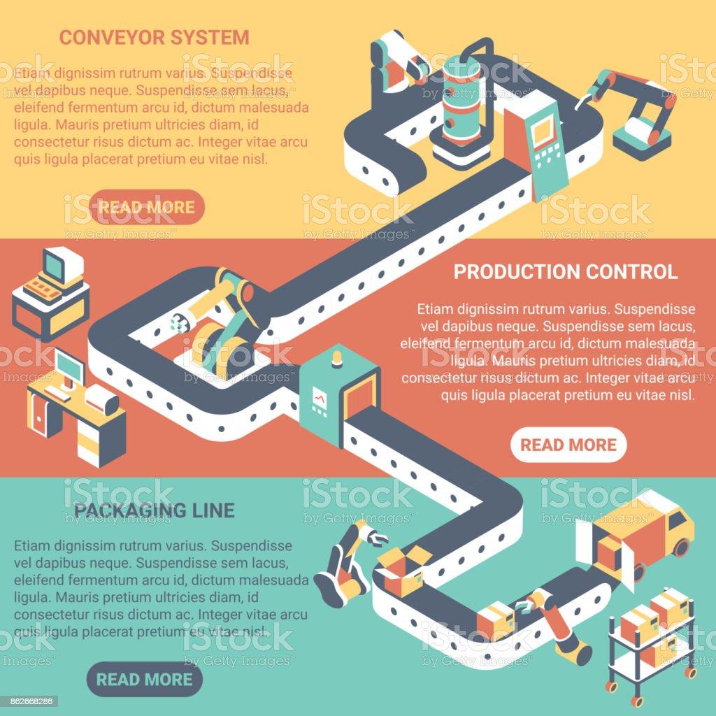Conveyor concept vector flat isometric horizontal banner set vector art illustration