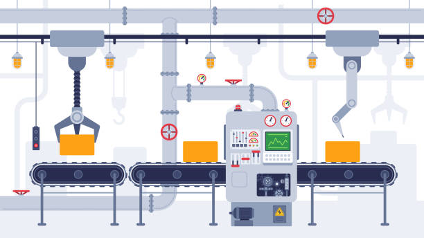 illustrazioni stock, clip art, cartoni animati e icone di tendenza di conveyor. industrial conveyor belt, manufacturing equipment, product transportation process, efficient automation production vector concept - metal robot in logistic factory