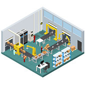 Conveyor Line Factory Interior with Isometric View. Vector