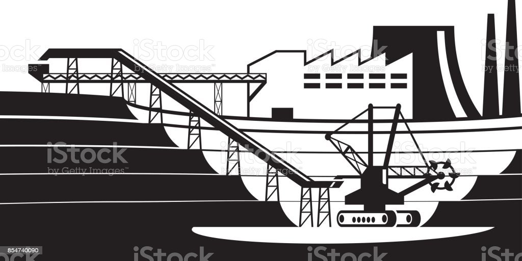 Conveyor line from open pit vector art illustration
