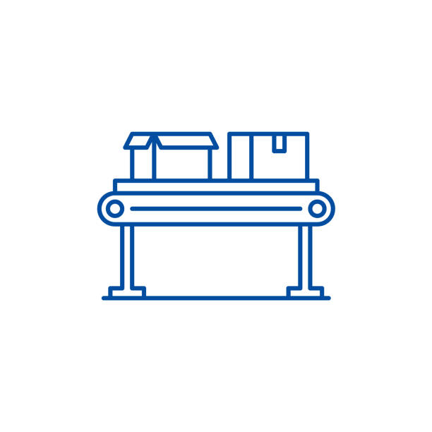 illustrazioni stock, clip art, cartoni animati e icone di tendenza di conveyor line line icon concept. conveyor line flat  vector symbol, sign, outline illustration. - metal robot in logistic factory