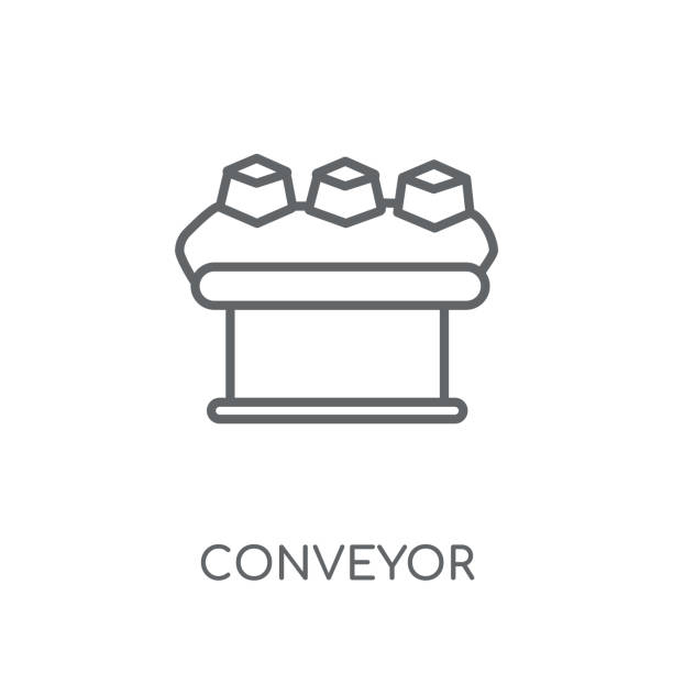 illustrazioni stock, clip art, cartoni animati e icone di tendenza di conveyor linear icon. modern outline conveyor logo concept on white background from delivery and logistics collection - metal robot in logistic factory