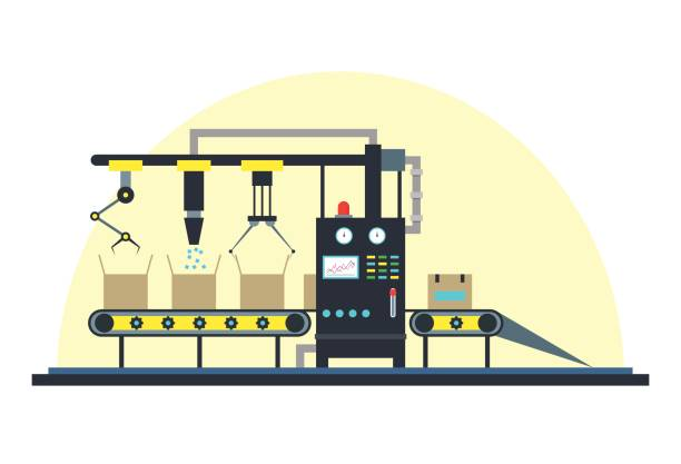 Conveyor Machine Fully Automatic Production Line. Vector vector art illustration