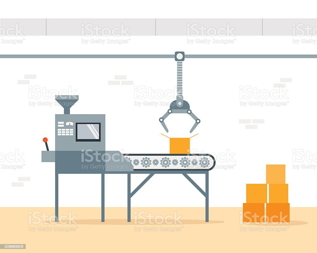 Conveyor Machine in Factory - flat vector illustration. Manufacture and