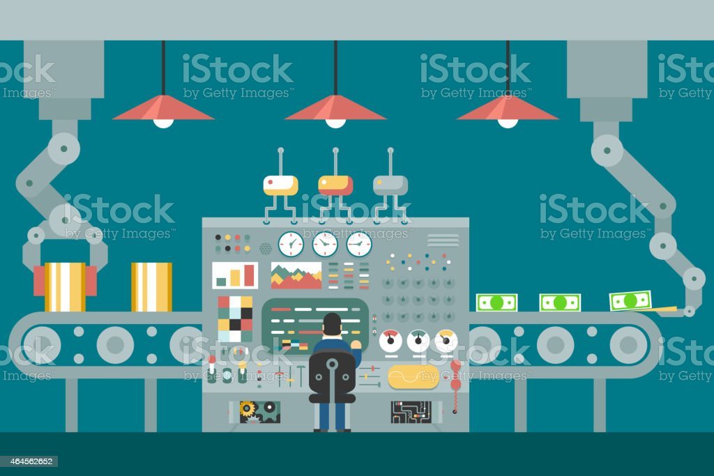 Conveyor robot manipulators work businessman in front of control panel vector art illustration