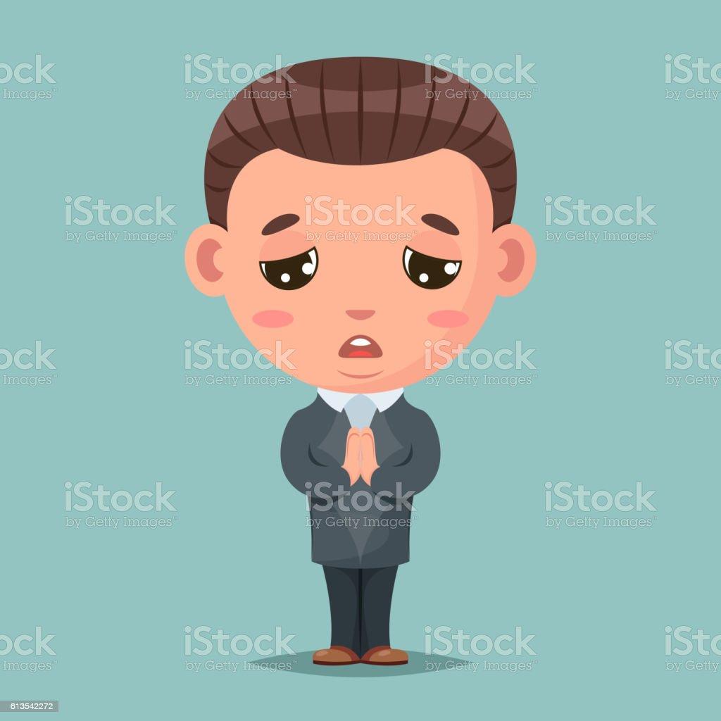 Convince agree pray ask businessman mascot condolences compassion cartoon design vector art illustration