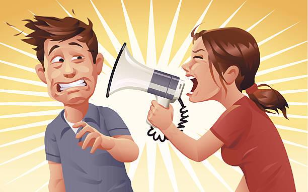 stockillustraties, clipart, cartoons en iconen met convincing arguments - couple fighting home