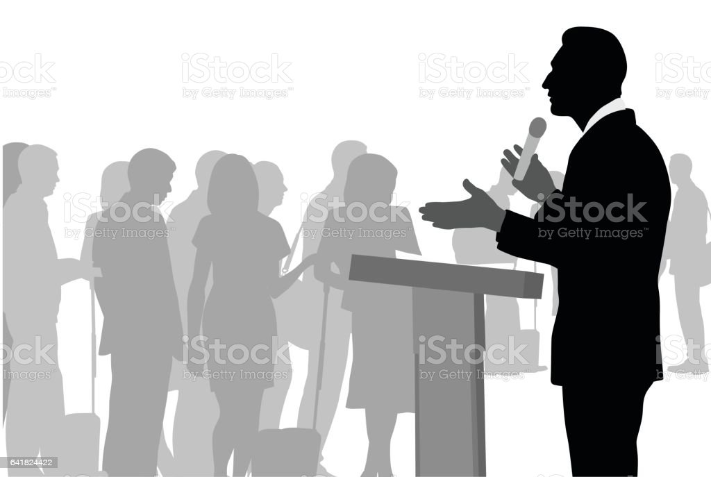 Convincing The Crowds vector art illustration