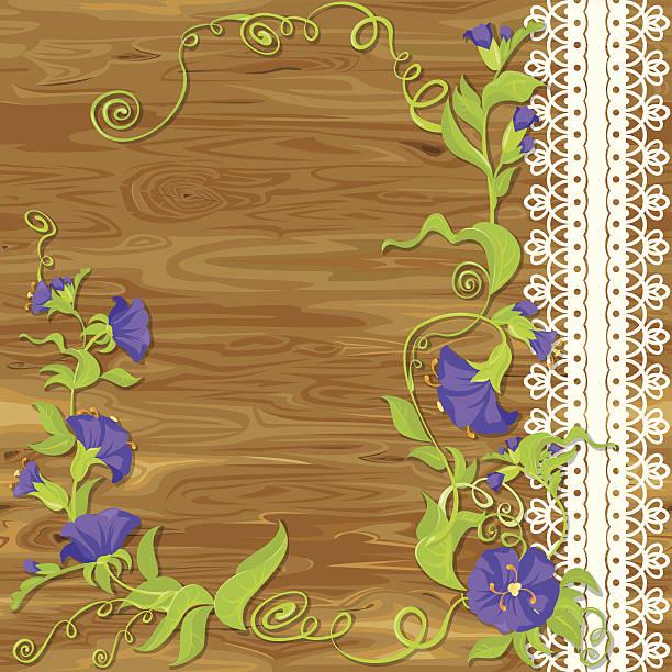 ilustrações de stock, clip art, desenhos animados e ícones de convólvulo flores sobre fundo de madeira - lian empty