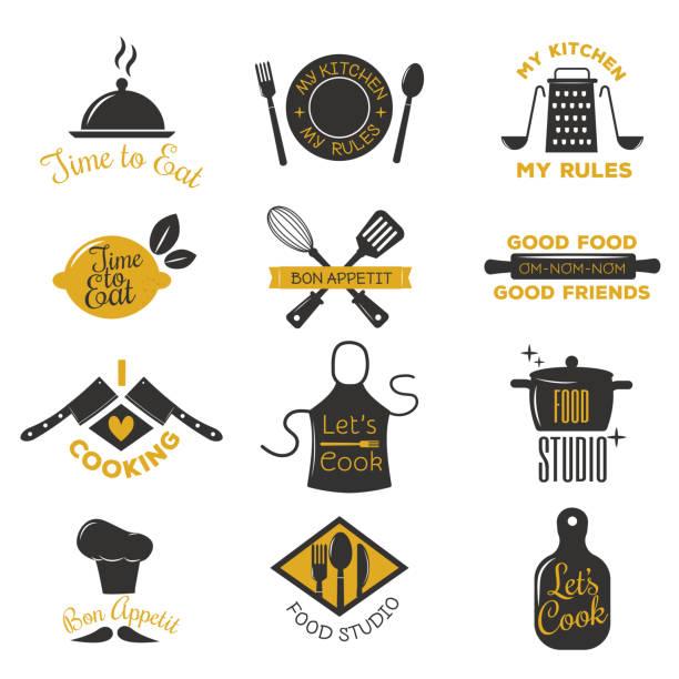 coocking badge vector illustration. - retroküchen stock-grafiken, -clipart, -cartoons und -symbole