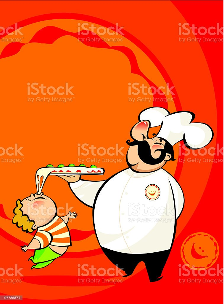 cocinero y niño con pizza royalty-free cocinero y niño con pizza stock vector art & more images of adult