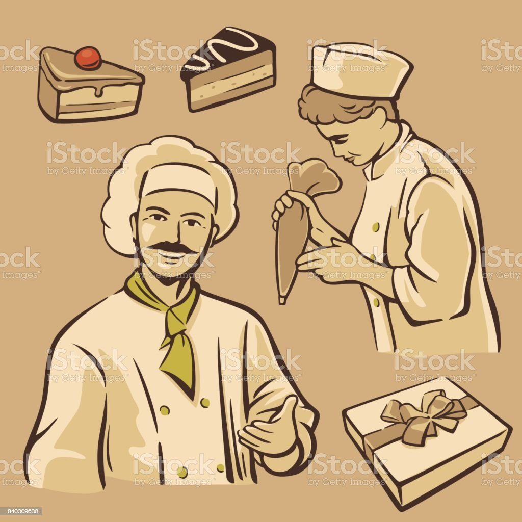 Cook and piece of Cake. Set vintage vector symbols and icon vector art illustration