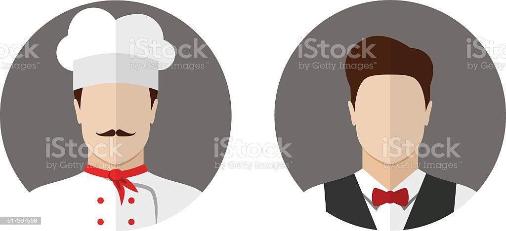 Cook and waiter icons vector art illustration