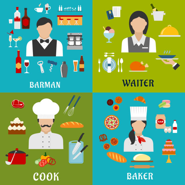 Cook, baker, waitress and barman professions vector art illustration
