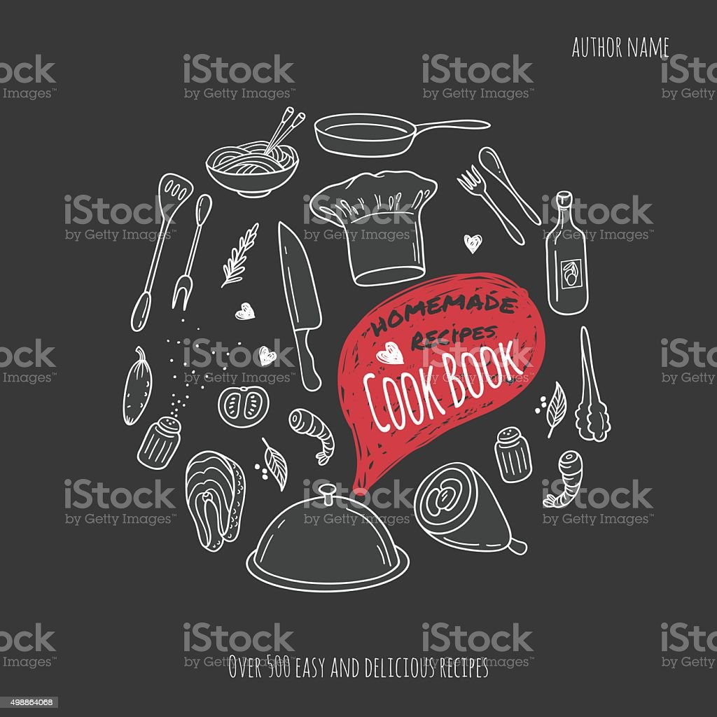Cook book cover with hand drawn food illustrations. Culinary background vector art illustration