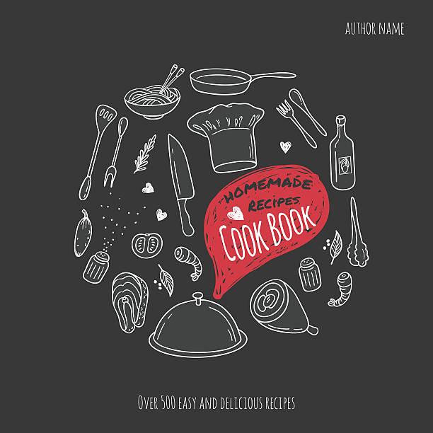 Cook Couverture de livre avec des illustrations réalisées à la main. Fond de cuisine - Illustration vectorielle