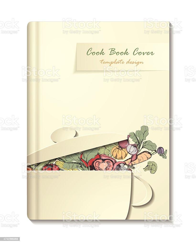 cook book or manu cover template retro minimalistic design stock