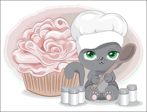 cook cat with spices and cupcake