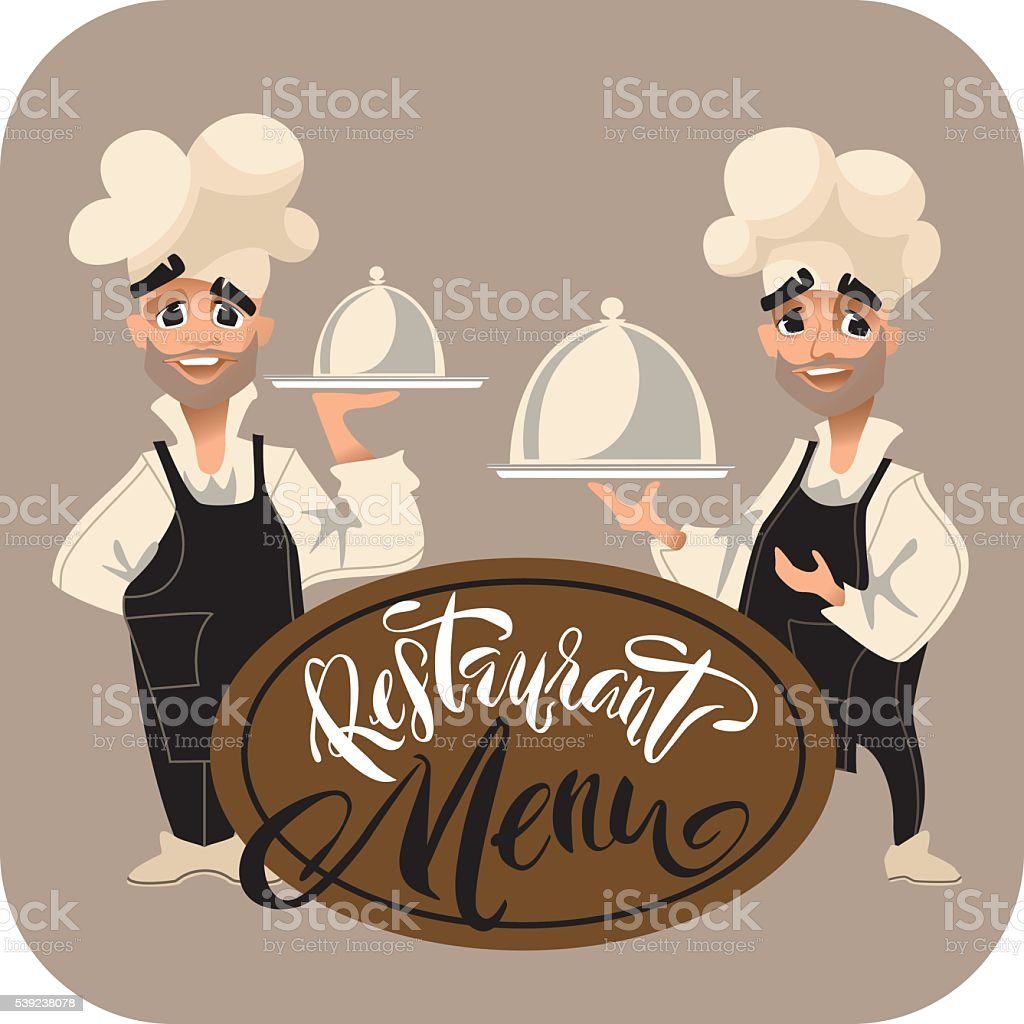Cook chatacter. Restaurant Menu lettering. royalty-free cook chatacter restaurant menu lettering stock vector art & more images of adult