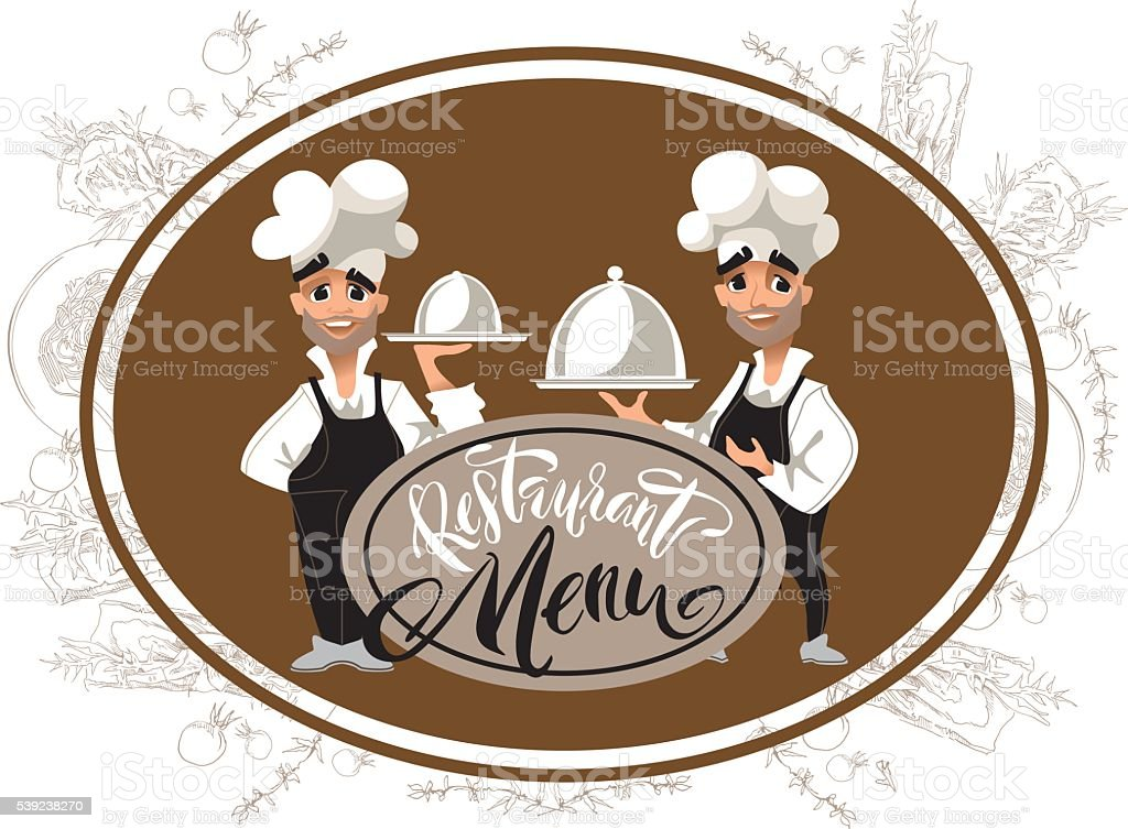 Cook chatacter. Restaurant Menu lettering. royalty-free cook chatacter restaurant menu lettering stock vector art & more images of adult