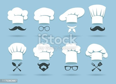 Cook chef hat logo. Flat culinary logos graphics with chefs hats and cooking accessories, vector illustration