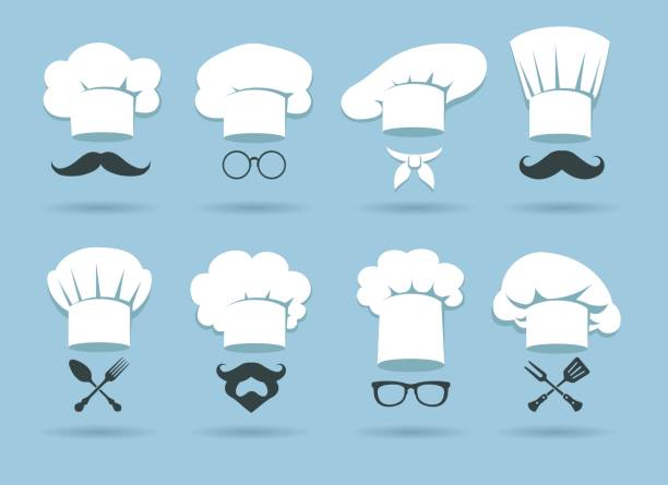 Cook chef hat logo Cook chef hat logo. Flat culinary logos graphics with chefs hats and cooking accessories, vector illustration cooking icons stock illustrations