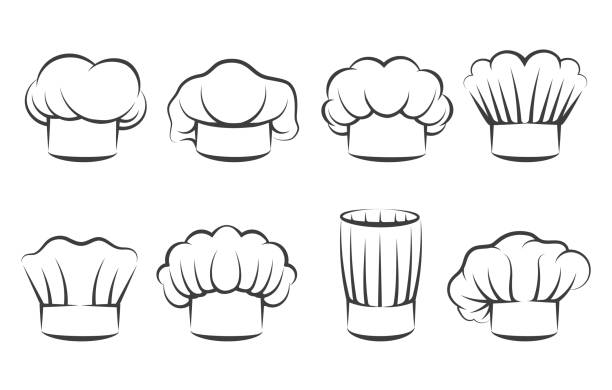 Cook chef hats icons Cook chef hats icons. Hand drawn chefs toque vector illustration, kitchen cooker caps isolated on white background chef's hat stock illustrations