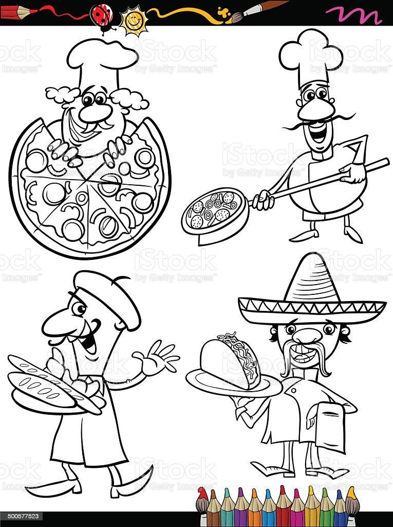 Ilustración de Cook Chefs De Historieta Libro Para Colorear y más ...
