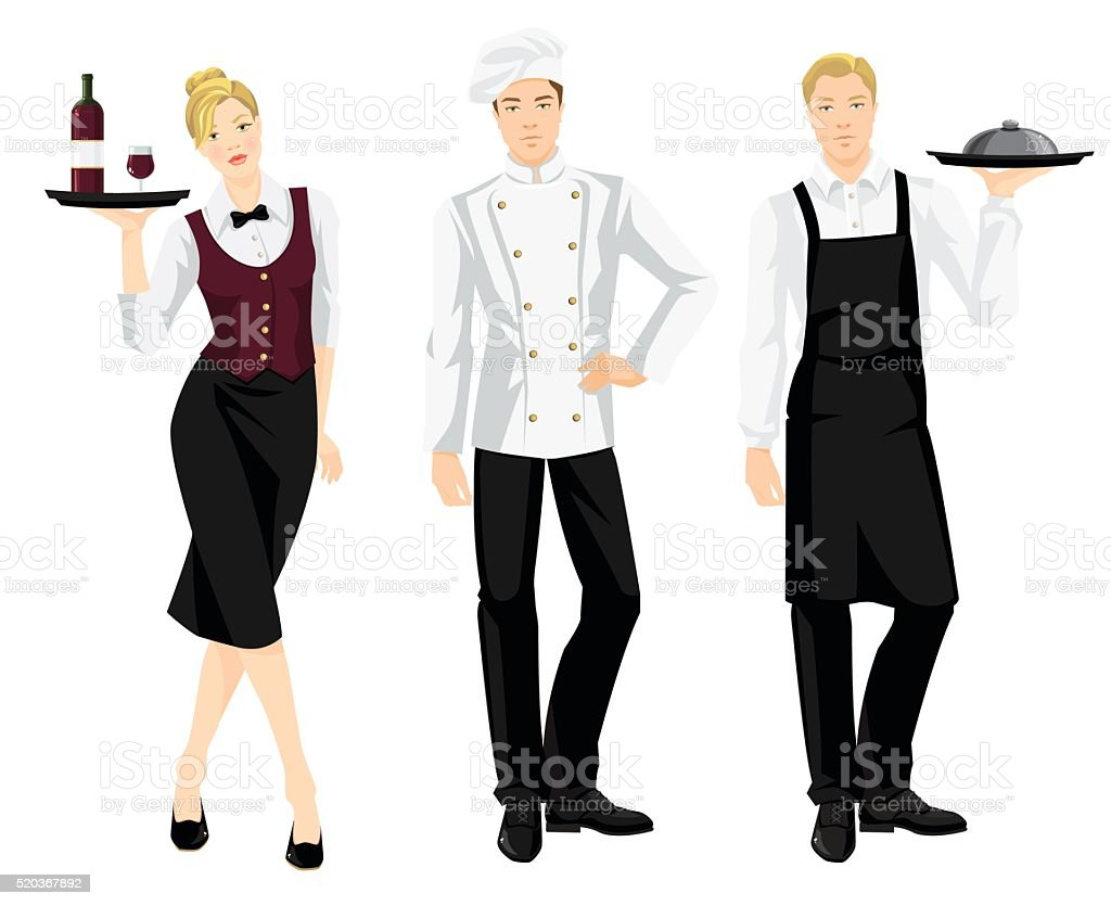 cook chief, cook and waitress in formal clothes vector art illustration