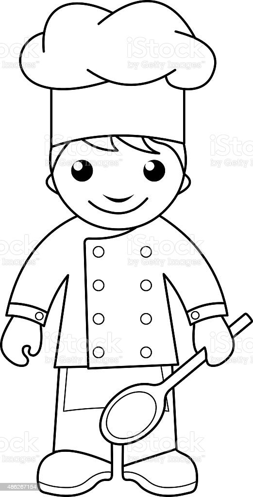Cook Coloring Page For Kids Stock Vector Art & More Images of 2015 ...
