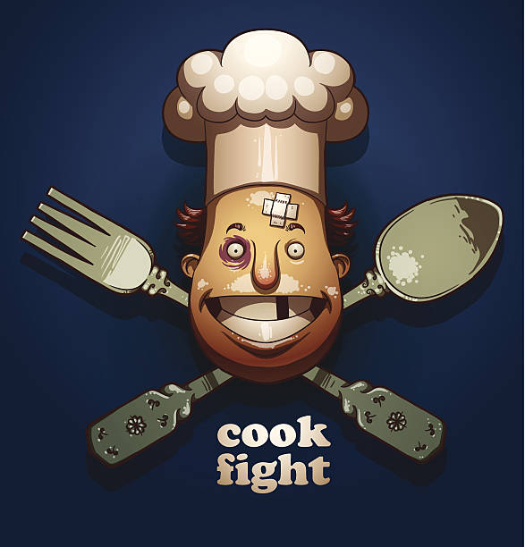 Cook fight color emblem, spoon and fork Ai EPS10 cooking competition stock illustrations