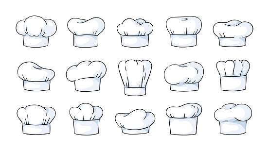 Cook hat. Cartoon cooker headwear, white cap. Headdress of chef. Traditional bakery or restaurant uniform. Starched cotton headgear set. Vector classical accessories for work in kitchen