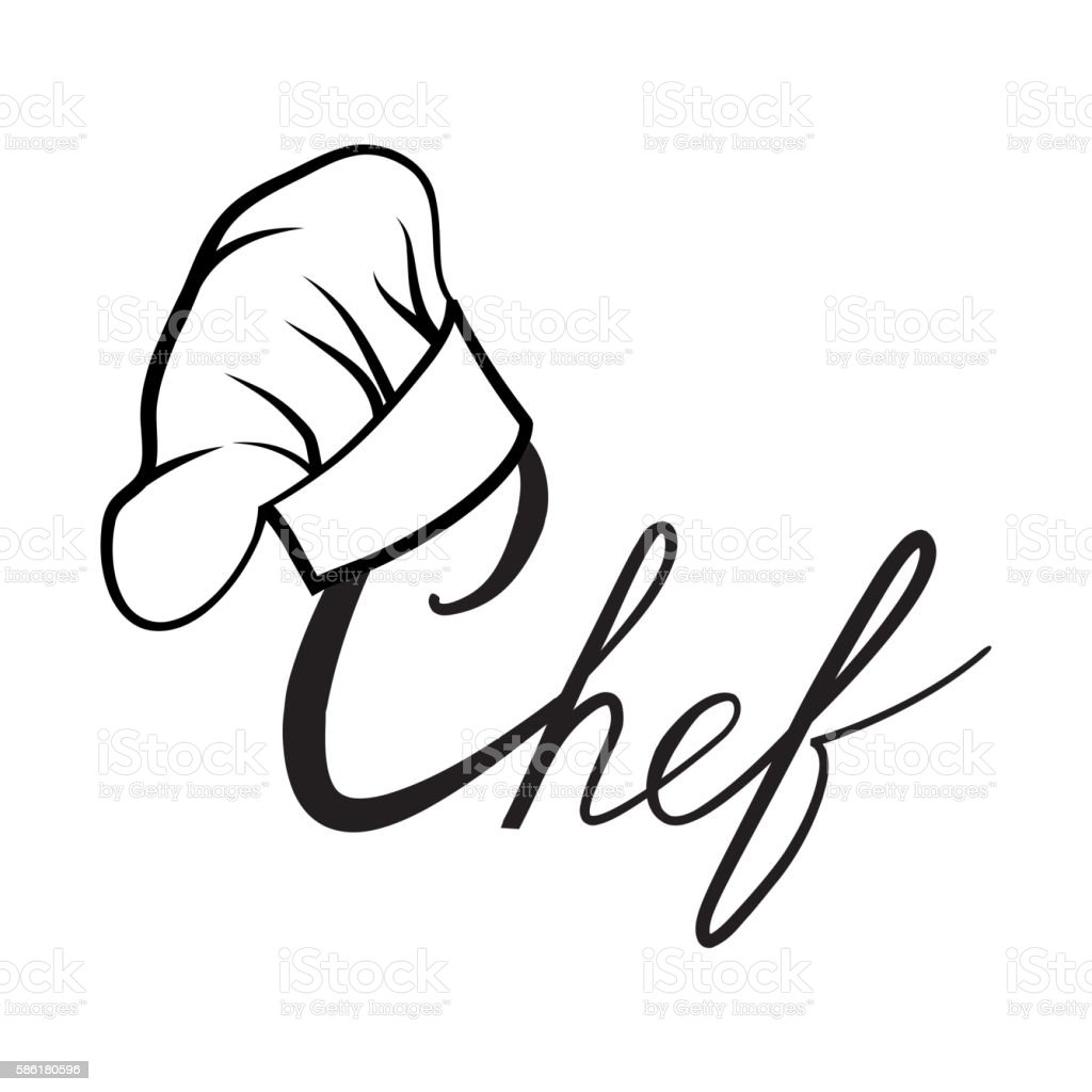 Cook hat. Drawn hat chef cook label