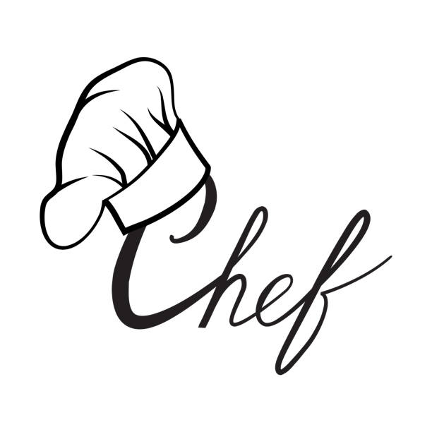 Cook hat. Drawn hat chef cook label Cook hat. Drawn hat chef cook. Hat chef-cooker with lettering. Vector black hat chef cook logo on a white background chef's hat stock illustrations