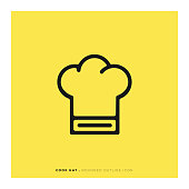 istock Cook Hat Rounded Line Icon 1082882192